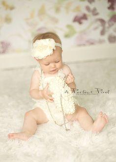 Pearl headband girls pearl headband ivory by PoshPeanutKids