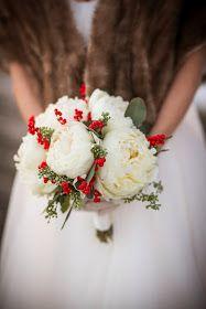 white peony & ilex berry bouquet