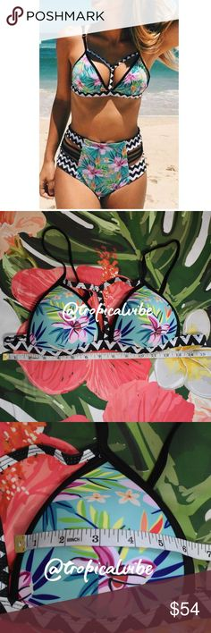 🌺🌴🌊Tropical Chevron Zig zag High Waist🌺🌴🌊 Tropical Flower Floral Chevron Zig zag  High Waist 2 piece swimwear Blank white pink green  Push up Swimsuit Bikini Lined (bottom) 82%Polyamid 18% Easthan  *Size is M, but it runs small. SEE PHOTOS FOR MEASUREMENTS.  *Read my closet guidelines before buying, thank 🌺 you  *💎✨All Boutique items are new with/without tags💎✨ Swim Bikinis