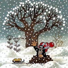 Krtek with his toboggan Winter Illustration, Cute Illustration, La Petite Taupe, Science Art, Cartoon Kids, Winter Snow, Art Drawings, Calendar, Paper Crafts