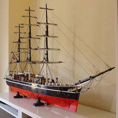Henrik Hoexbroe has 1:50 scale model of the Cutty Sark square rigged clipper.