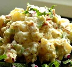 "Creamy Potato Salad With Homemade Bacon Bits - This is a wonderful creamy potato salad worthy of any get-together or summer picnic. I think it's fun to have some different variations on potato salads so I'm not always making the ""same old one""! Potato Dishes, Potato Recipes, Creamy Potato Salad, Summer Side Dishes, Sweet Pickles, How To Cook Potatoes, Bacon Bits, Snacks, Soup And Salad"