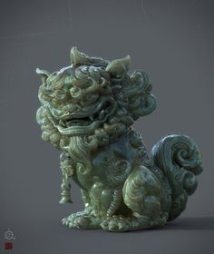 SuanNi is a mysterious Chinese legendary beast.Just for fun,testing a Jade material and sss render in Iray. Japanese Drawings, Japanese Art, Korean Art, Asian Art, Asian Sculptures, Stone Lion, Fu Dog, Futuristic Art, Oriental Pattern