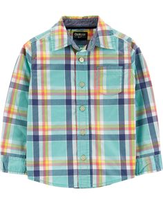 Toddler Boy Button-Front Plaid Shirt from OshKosh B'gosh. Shop clothing & accessories from a trusted name in kids, toddlers, and baby clothes. Clothing Websites, Toddler Fashion, Toddler Boys, Kids, Baby Boy Outfits, Poplin, Clothes, Button, Spring Pictures