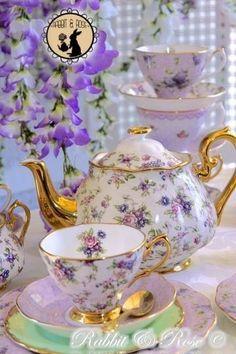 Tableware - Beautiful Lavendar Floral Teapot, Cup & Saucer