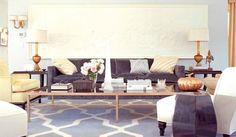 Grey trellis rug... living room designed by Kelly Wearstler