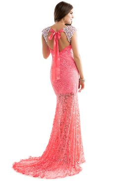Sheath Dress in Lace with Open Back & Sleeves | by FLIRT #prom #pink #jeweled #sleeves