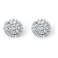 PalmBeach Jewelry 1/4 TCW Round Diamond Cluster Halo Stud Earrings in... (455 CAD) ❤ liked on Polyvore featuring jewelry, earrings, accessories, studs, acc, white, cluster stud earrings, cocktail jewelry, diamond cluster stud earrings and evening earrings