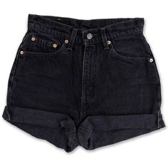 Vintage 90s Levi's Black Gray Dark Wash High Waisted Rise Cut Offs... (1.425 UYU) ❤ liked on Polyvore featuring shorts, bottoms, short, pants, high waisted shorts, high-waisted jean shorts, short shorts, cut-off jean shorts and denim cutoff shorts