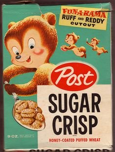 Post Sugar Crisp - loved this cereal Retro Ads, Vintage Advertisements, Vintage Ads, Vintage Food, Vintage Stuff, Retro Food, Vintage Packaging, Food Packaging, Cereal Packaging