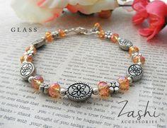 Yellow-Orange Glass Beaded Flower Bracelet