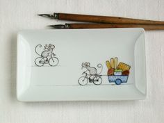 mouse bicycle and cakes, tray ring holder soap dish side plate, hand painted on porcelain on Etsy, $36.81