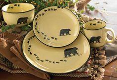 Black Bear Lodge Dinnerware Set - 16 pcs