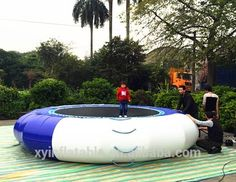 This water trampoline is 5 meters in diameter and will provide hours of fun for your whole family. It inflates easily with a single chamber design. There is also a removable inflatable boarding platform, and an anchor system to keep the trampoline stable for jumping.