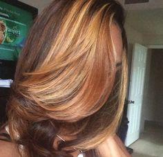 Chocolate hair caramel bang weave
