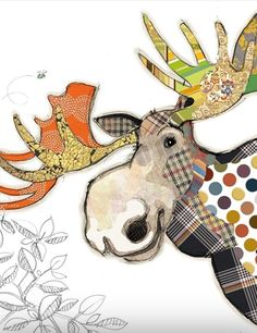 Gorgeous card with Malcolm Moose in patckwork design and gold foil detail from Bug art cards.Each card is blank inside and comes with a good quality envelope. Applique Patterns, Quilt Patterns, Art Projects, Sewing Projects, Kit Bebe, Bug Art, Animal Quilts, Art Plastique, Fabric Art