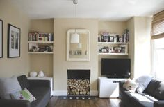 fireplace and alcove shelves