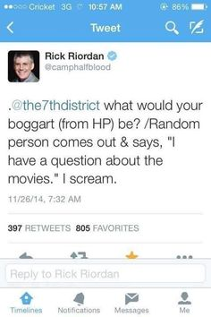 "When even he hates the movies<<< he's not even subtle he sent a movie to the directors when he got the script and said ""so yeah i hate this and it sucks"" Percy Jackson Memes, Percy Jackson Books, Percy Jackson Fandom, Rick Riordan Series, Rick Riordan Books, Leo Valdez, Solangelo, Percabeth, Trials Of Apollo"