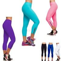 28367ebcc980f Women Tights Capri Running Pants High Waist Cropped Leggings Fitness  SV001959 Trousers