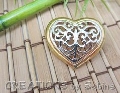 Heart Brooch Filigree Gold Silver Tone Metal Ornamental