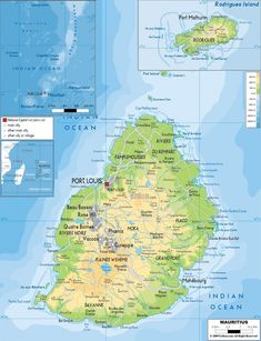 Mauritius Map - Physical Map of Mauritius Beautiful Islands, Beautiful Places, Mauritius Travel, Island Nations, Relax, Archipelago, Continents, Where To Go, Africa
