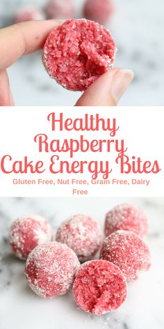 With Valentine's Day coming up I thought this would be the perfect time to share these Raspberry cake bites! They're yummy, moist and bonus they take 5 minutes and they're no bake. Enjoy. Coconut Raspberry Cake Energy Bites Ingredients 1/2 cup raspberry jam (seedless) 3/4 cup coconut flour 3 tbsp maple syrup coconut flour for rolling Directions 1. Add raspberry jam, coconut flour, maple syrup into a food processor and mix until well combined. 2. Use a tablespo...