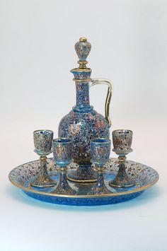 Moser Enameled Glass Decanter Set