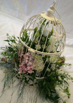 bird cage arrangements | ... the cage with a few wispy flowers and foliage escaping from the cage