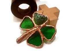 StainedGlass Jewelry Pendant, Green Shamrock Glass Pendant, Four Leaf Clover Pendant, Glass and Metal Jewelry, Handmade Jewelry. $25.00, via Etsy.