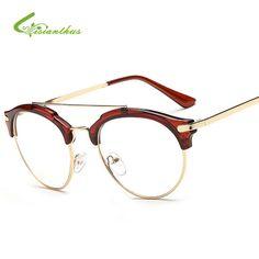 Female/Male Grade Glasses Frame 2017 Hipster Vintage Computer Eyeglasses Women Cat Eye Glasses Plain Spectacle Frame Oculos Grau