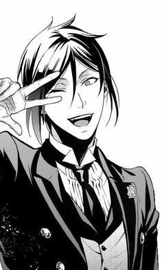 Sebastian Michaelis, peace sign, cute; Black Butler
