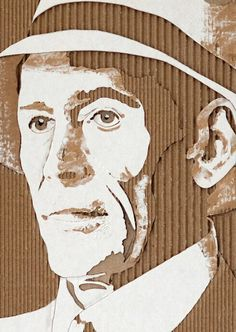 """ACTORS IN ART: """"Peter O'Toole"""" -- by Giles Oldershaw; a cardboard relief portraits created by carefully removing layers of corrugated cardboard. Cardboard Sculpture, Cardboard Art, Cardboard Boxes, Cardboard Packaging, Relief En Carton, Cardboard Relief, Art Carton, Art Du Collage, Ouvrages D'art"""
