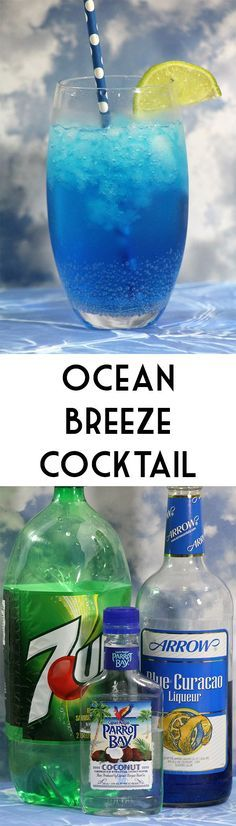 <<TR>>This Ocean Breeze Cocktail is a fun summer drink for the beach or anywhere you want to pretend is the beach! Add a splash of pineapple or orange juice to make this recipe extra special! (food and drink cocktails) Fancy Drinks, Bar Drinks, Cocktail Drinks, Bourbon Drinks, Refreshing Drinks, Yummy Drinks, Non Alcoholic Drinks, Tequila Drinks, Blue Curacao Drinks