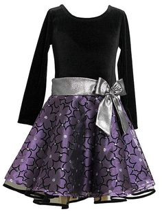 Wonderful Christmas dress for your little girl by Bonnie Jean with silver lame' bow and purple flocked flowers organza skirt with silver glitter sparkles! #Christmas #holiday