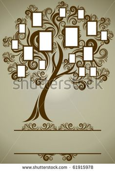stock photo : RASTER family tree design with frames and autumn leafs.