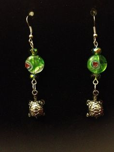 Decorated Green Turle Earrings by queenofqeeks on Etsy, $8.00