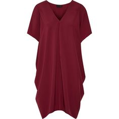 Hatch The Slouch draped crepe de chine mini dress ($245) ❤ liked on Polyvore featuring dresses, burgundy, mini dress, slip on dress, burgundy dress, short dresses and slouchy dress