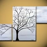 Black and White painting, Large tree painting wall Art, birds tree home decor, Triptych ORIGINAL Canvas Abstract, Home decor on Wanelo Black And White Tree, Black And White Painting, Abstract Canvas, Canvas Wall Art, Tree Canvas, Bedroom Canvas, Three Canvas Painting, Art Above Bed, White Wall Art