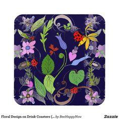 Floral Design on Drink Coasters (set of 6)