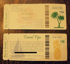 destination wedding invitations plane ticket - Google Search