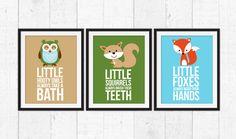Little Forest Animals Fox Squirrel Owls Bathroom Rules Animal Decor Art Woodland Prints By