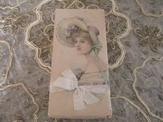 Vintage Chocolates Candy Cardboard Box Empty Victorian Lady/Orig Satin Ribbon