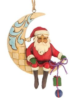 Santa on Crescent Moon Christmas Ornament