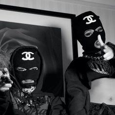 Me & my homegyrl...say here our ski masks. Ha!