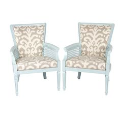 Turquoise Ikat Cane Chairs, Pair
