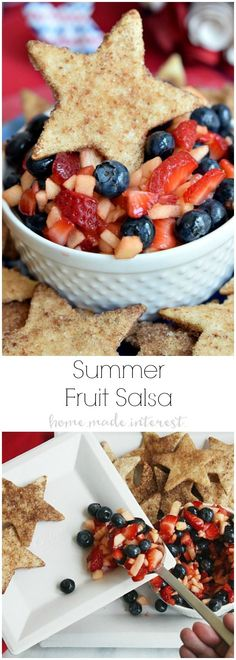 Blueberries, apples, and strawberries make up this light and fresh summer fruit salsa. It is perfect side dish or summer dessert recipe for Memorial Day, 4th of July, and Labor Day cookouts with it's beautiful red, white, and blue colors and served with crisp, sweet, cinnamon chips shaped like stars. AD