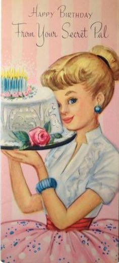 Vintage Birthday Cards, Vintage Greeting Cards, Vintage Valentines, Vintage Ephemera, Vintage Holiday, Birthday Greeting Cards, Birthday Greetings, Vintage Postcards, Secret Pal
