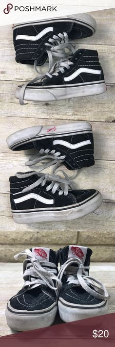 "Vans Toddler Kids SK8 Hi High Tops size 11 Blk Wht The original skate shoe!!!  Preloved pair of Van's SK8 Hi Hi Top skate shoe Toddler/ kids size 11 Gentle wear; soles appear hardly worn Tons of life left! Please note there is a red ""w"" on left inside sole. Please review ALL photos Vans Shoes Sneakers"