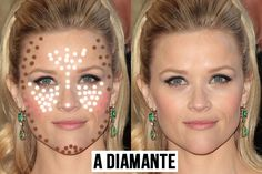 contouring in base alla forma del viso-a diamante