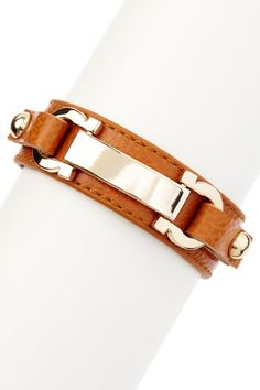 Gold & Brown ID Bar & Horseshoe Leather Bracelet by Olivia Welles on @HauteLook